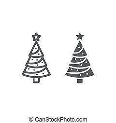 Christmas tree line and glyph icon, decor and new year, fir tree sign, vector graphics, a linear pattern on a white background.