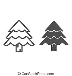 Christmas tree line and glyph icon. Fir-tree vector illustration isolated on white. Evergreen outline style design, designed for web and app. Eps 10.
