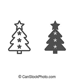 Christmas tree line and glyph icon. Fir-tree vector illustration isolated on white. Holidays outline style design, designed for web and app. Eps 10.
