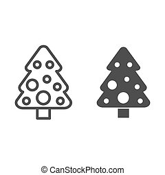 Christmas tree line and glyph icon. Fir-tree vector illustration isolated on white. Spruce outline style design, designed for web and app. Eps 10.
