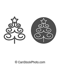Christmas tree line and glyph icon. Xmas vector illustration isolated on white. Fir-tree outline style design, designed for web and app. Eps 10.