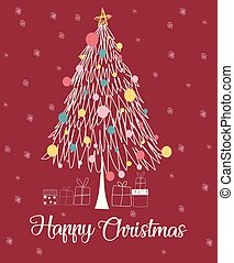 Christmas tree line happy christmas card