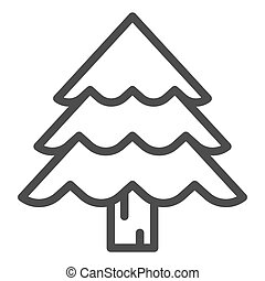 Christmas tree line icon. Fir-tree vector illustration isolated on white. Evergreen outline style design, designed for web and app. Eps 10.