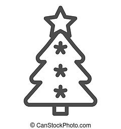 Christmas tree line icon. Fir-tree vector illustration isolated on white. Holidays outline style design, designed for web and app. Eps 10.