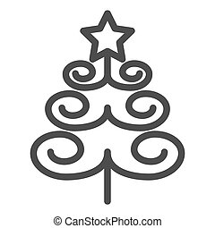 Christmas tree line icon. Xmas vector illustration isolated on white. Fir-tree outline style design, designed for web and app. Eps 10.