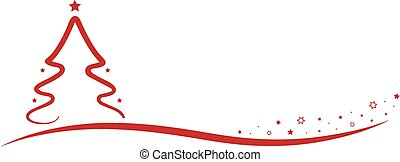 Christmas Tree line red Stars