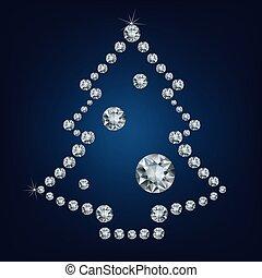 Christmas tree made a lot of diamonds