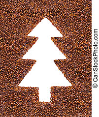 Christmas Tree made from coffee beans