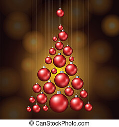 Christmas tree made from red balls