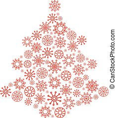 Christmas tree made from snowflakes