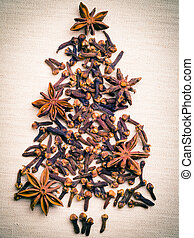 Christmas tree made from spices