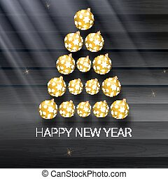Christmas tree made from yellow balls. Vector illustration template for your greeting card