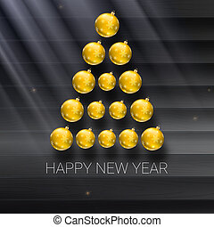 Christmas tree made from yellow balls. illustration template for your greeting card
