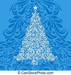 Christmas tree made of floral pattern over ornate blue...