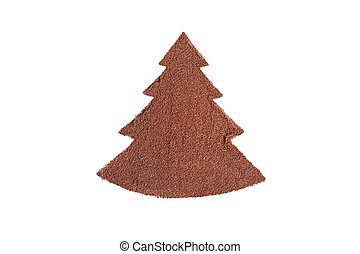 Christmas tree made of ground coffee on a white background.