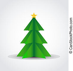 Christmas tree made of paper, vector illustration