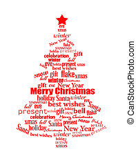 Christmas tree made of red Christmas words - vector...