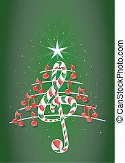 Christmas tree made of red musical notes, candy bar shaped treble clef and pentagram on green background with stars - Vector image