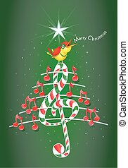 Christmas tree made of red musical notes, candy bar shaped treble clef and pentagram with yellow bird singing and title: MERRY CHRISTMAS on green background with stars - Vector image