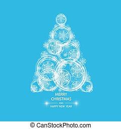 Christmas tree made of snowflakes and magic circle.