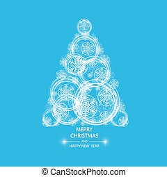Christmas tree made of snowflakes and magic circle.
