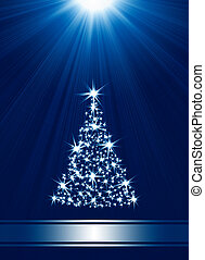 Christmas tree made of stars against blue background with...