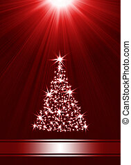 Christmas tree made of stars against red background with...