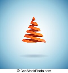 Christmas tree made with red ribbons on blue background