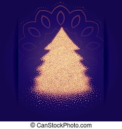 christmas tree made with sparkles background design