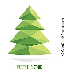 Christmas tree made with triangles isolated on a white backgrounds, vector illustration
