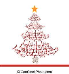 Christmas tree made with words