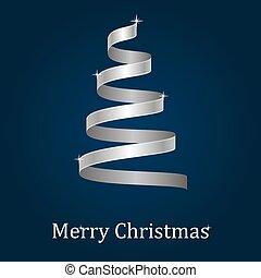 Christmas tree. Merry Christmas card. Stylized ribbon Christmas tree. Vector illustration