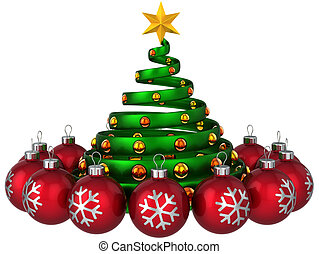 Modern green stylized christmas tree with yellow shining balls and star shape on top. Red shiny baubles around. New Year greeting card composition. This is a detailed 3D rendering (Hi-Res). Isolated on white. Merry Christmas!
