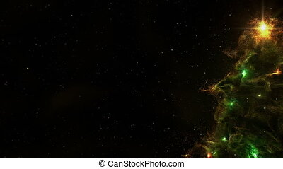 Christmas Tree Nebula Background Full 4K Loop Green -...