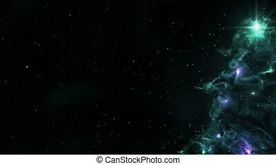 Christmas Tree Nebula Background Full 4K Loop Turquoise -...