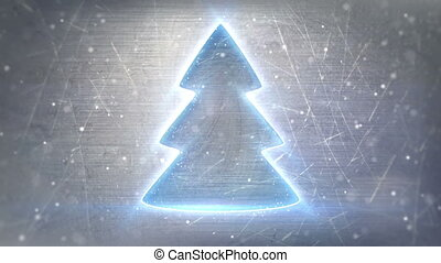 christmas tree neon glowing loop
