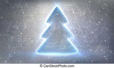 christmas tree neon glowing loop