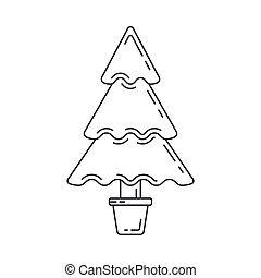 Christmas tree, New Year line icon. Holiday Xmas winter trendy decoration background. Party celebration, holidays event, carnival party element icon. Vector linear design. Illustration vintage object.