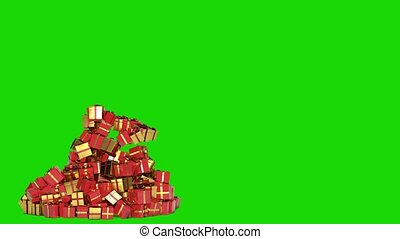 Christmas tree of gifts appearing. Merry Christmas and Happy New Year 2020 animation. Green screen.