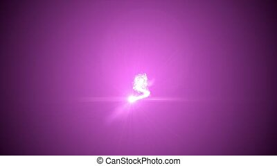 Christmas tree of glowing particles. top inscription Merry Christmas