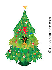 Christmas Tree of Maple Leaves with Christmas Ornament