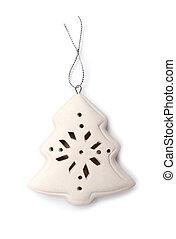 Christmas tree of porcelain, on white background