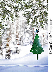 Christmas tree on a background of a winter landscape