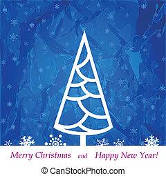Christmas tree on a blue background, illustration