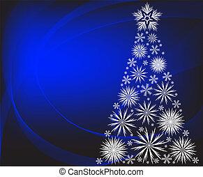 Christmas tree on a blue