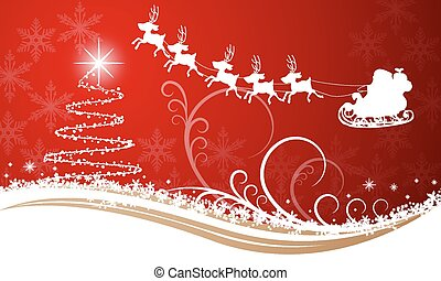 Christmas tree on a card with Santa Claus