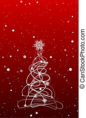 Christmas tree on a red background with snowflakes.Vector
