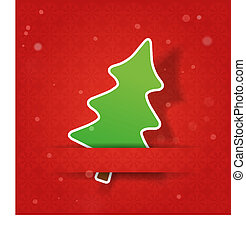 Christmas tree on a red snowly background