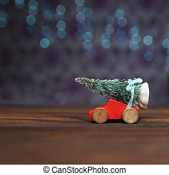 Christmas tree on a toy car
