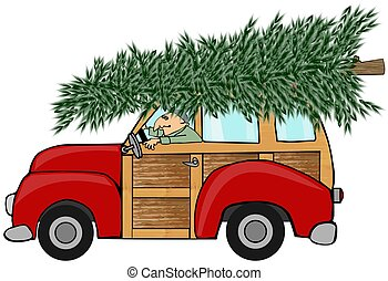 This illustration depicts an old woody station wagon hauling a large Christmas tree on its roof.